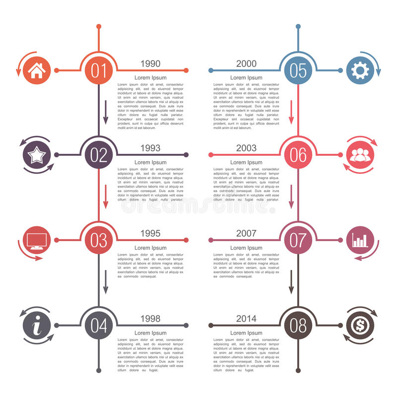 Timeline Template. Timeline infographics template with eight elements vector illustration