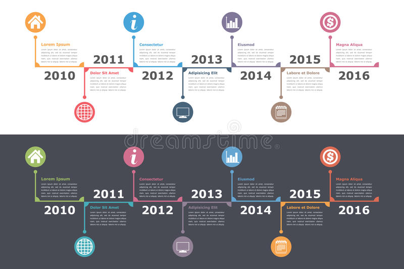 Timeline Template. Timeline infographics on white and dark background, workflow or process diagram, flowchart stock illustration