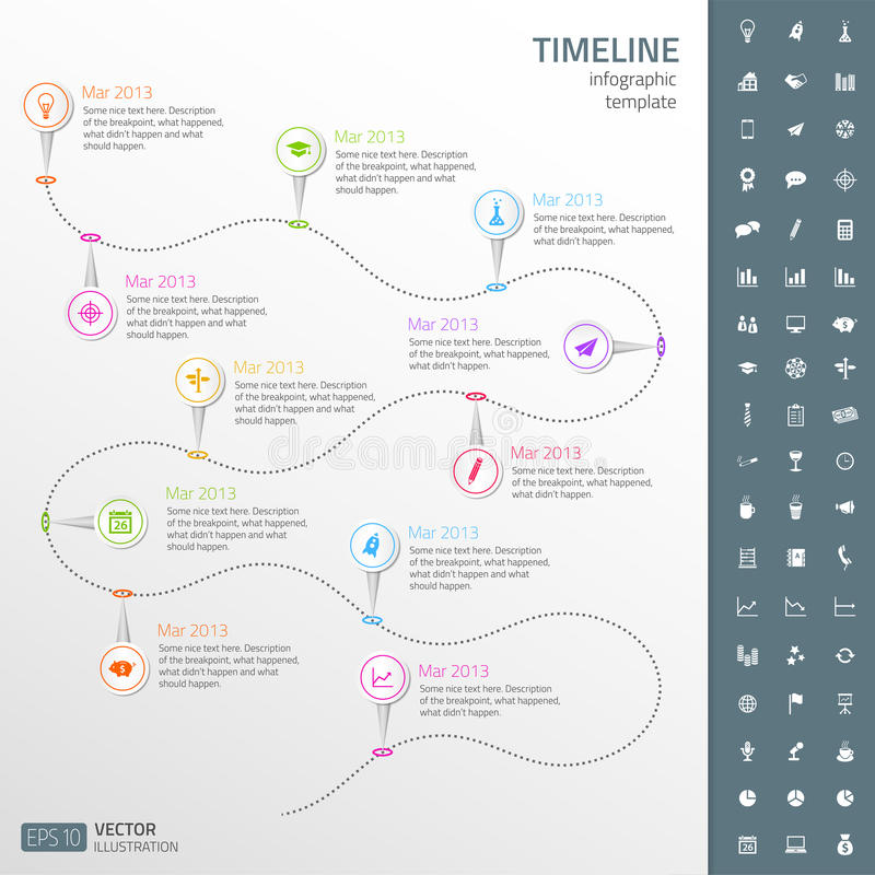 Timeline template in sticker style with set of ico stock illustration