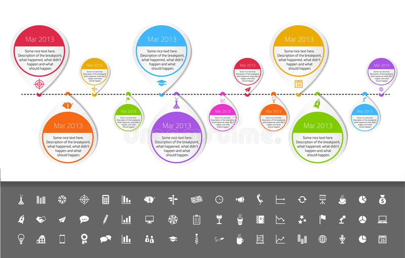 Timeline template in sticker style with set of ico vector illustration