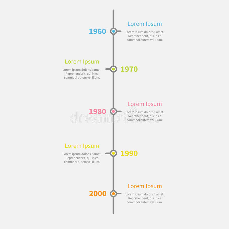 Timeline vertical Infographic with color text. Template. Flat design style. Vector illustration stock illustration