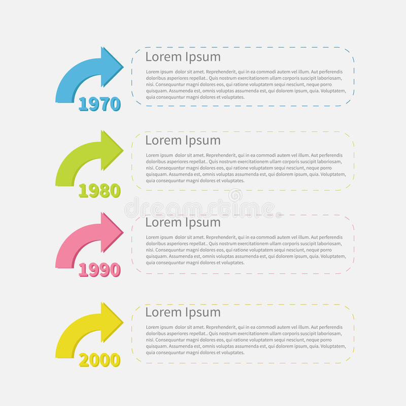 Timeline vertical Infographic with colored arrows and text. Template. Flat design. Vector illustration stock illustration
