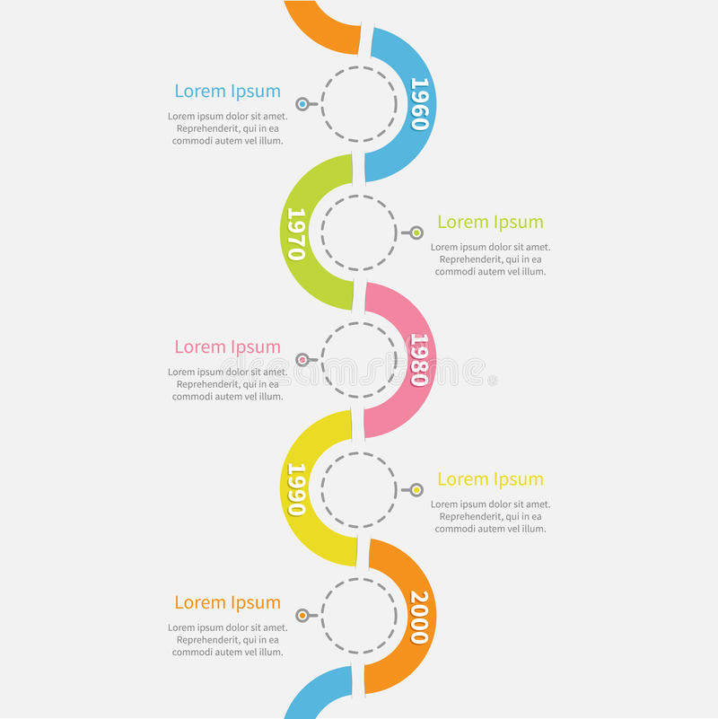 Timeline vertical Infographic with snail shape ribbon, dash line circles and text. Template. Flat design. Vector illustration vector illustration