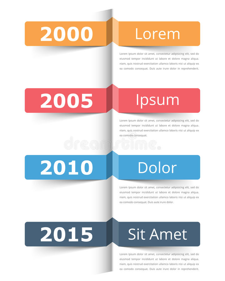 Timeline. Vertical timeline infographics template with place for dates, titles and text stock illustration