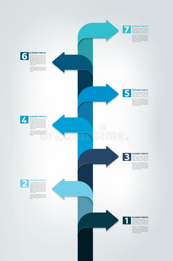 Timeline vertical report, template, chart, scheme, step by step infographic. Vector royalty free illustration