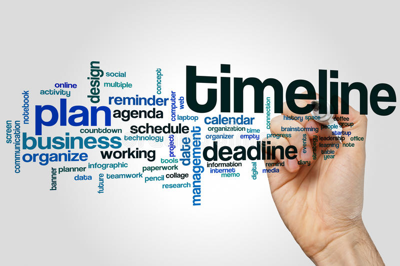 Timeline word cloud. Concept on grey background stock photography