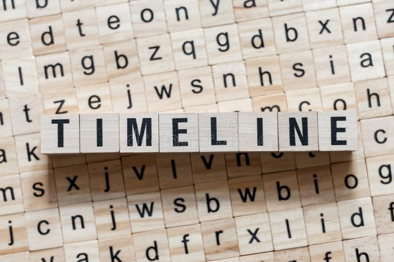 Timeline word concept on cubes royalty free stock photos