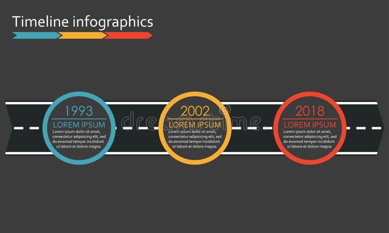 Timelineinfographics för 3 moment med pilen från vägen Tre alternativ eller nivåmall också vektor för coreldrawillustration royaltyfri illustrationer