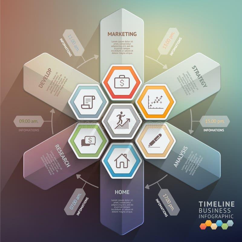 timelineinfographics för pil 3d stock illustrationer