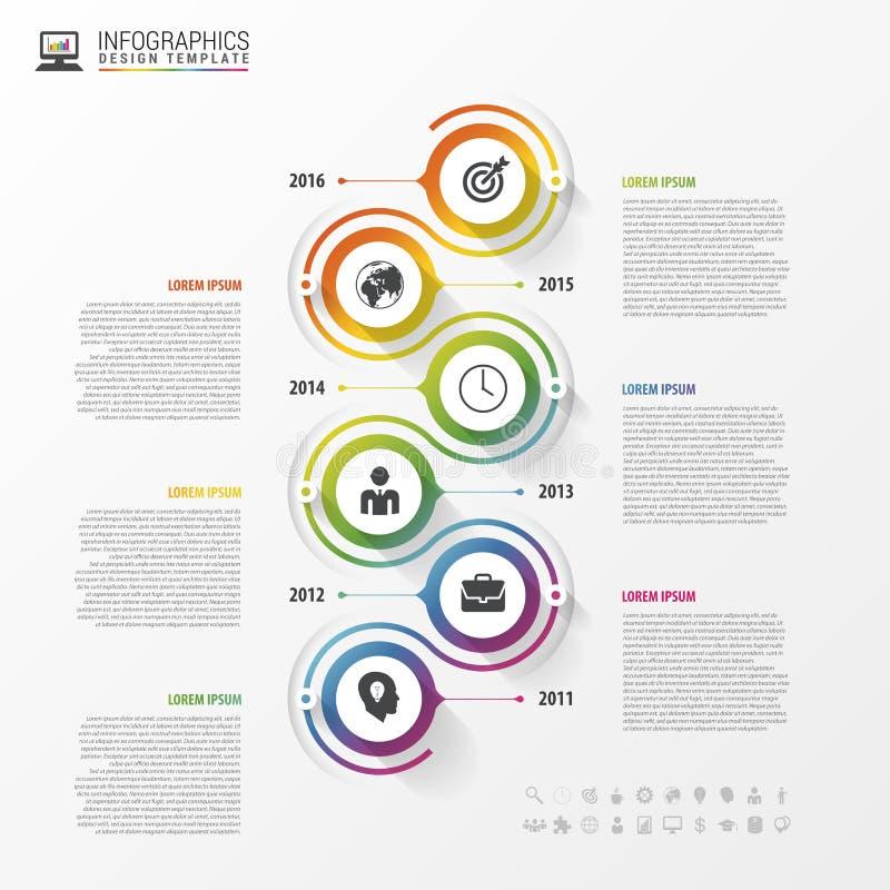 Timelineinfographicsmall Färgrik modern design vektor royaltyfri illustrationer