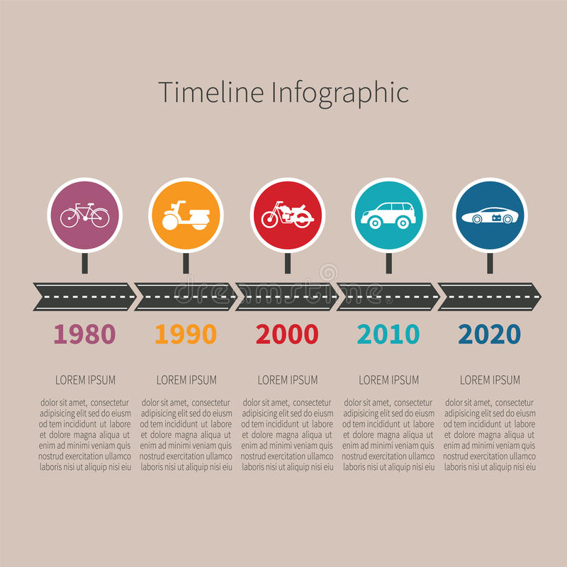 Timelinevektor som är infographic med transportsymboler och text i retro stil stock illustrationer