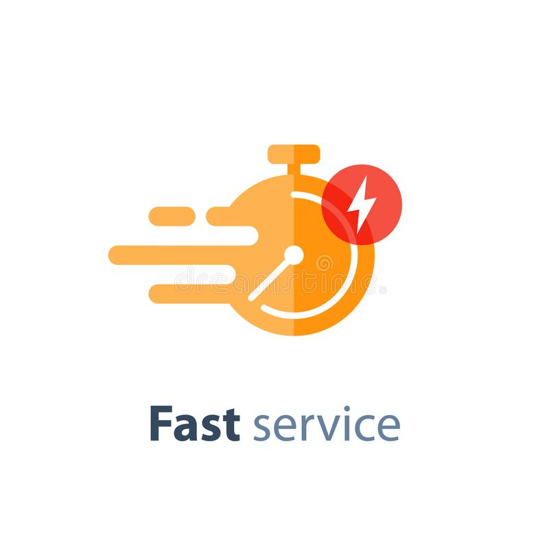 Timely service, fast delivery, time period, stopwatch in motion, vector icon. Fast time delivery icon, timely service, stopwatch in motion, deadline concept stock illustration