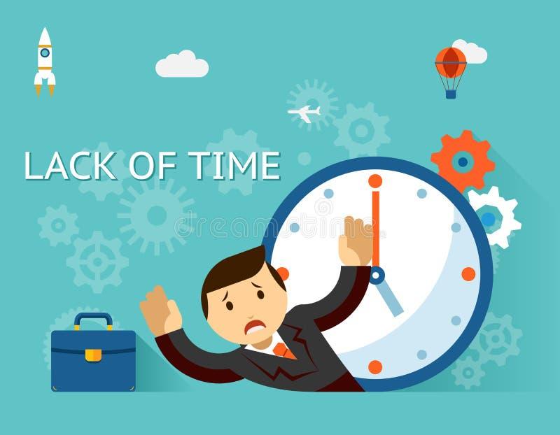 Timemanagement Concepto de la falta de tiempo Hombre de negocios stock de ilustración