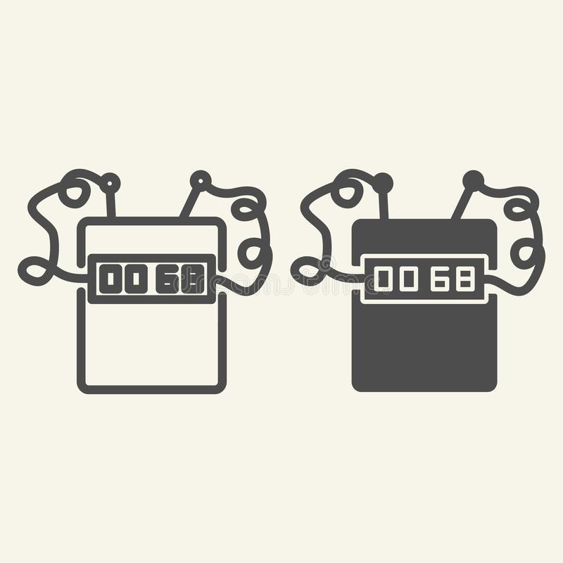 Timer bomb line and glyph icon. Clock bomb vector illustration isolated on white. Countdown outline style design vector illustration