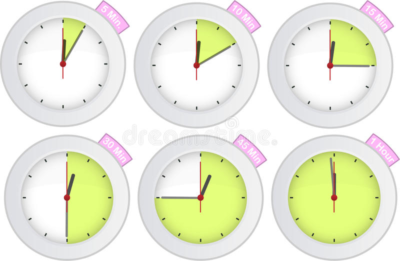 Timer clock with 5, 10, 15, 30, 45, 60 min signs vector illustration