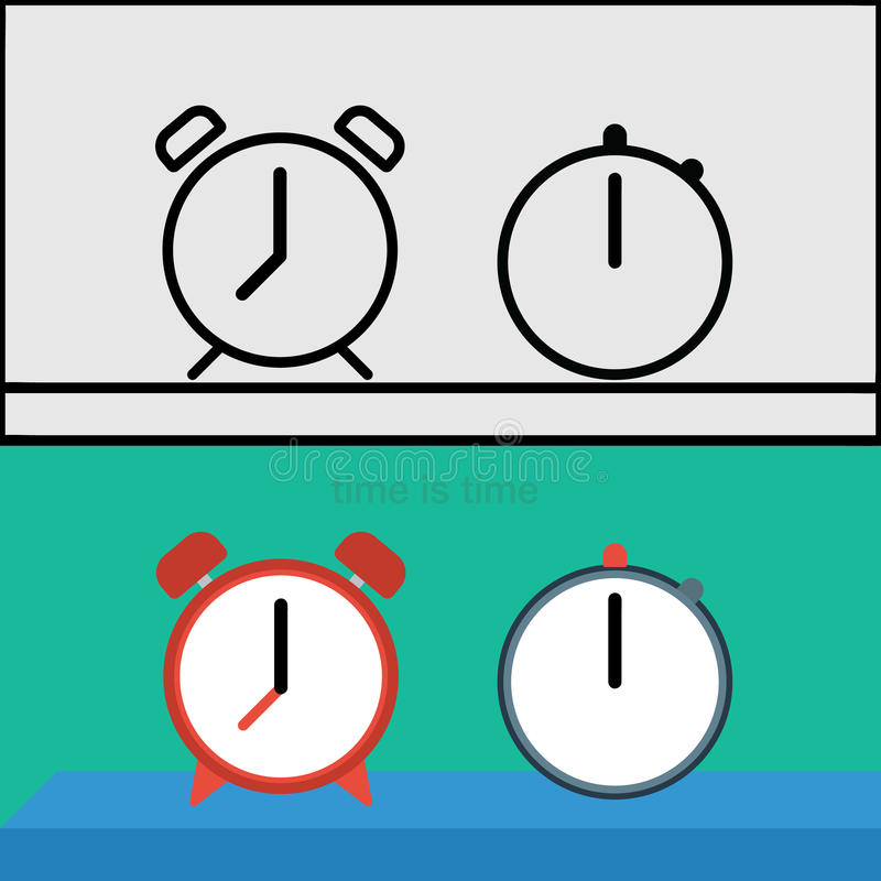 Timer, Clock Schematically Flat Stock Vector - Illustration of ... on