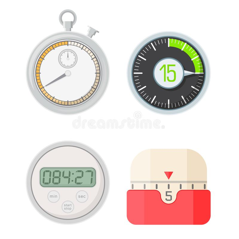 Timer clocks vector watch stopwatch countdown symbol hour illustration time sign minute second design alarm chronometer. Chronometer isolated circle button royalty free illustration