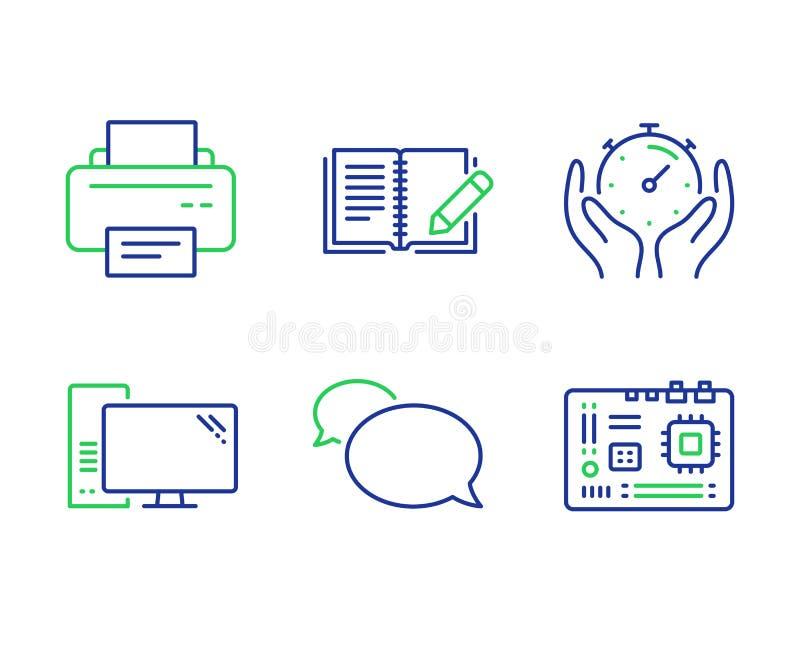 Timer-, Drucker- und Boteikonensatz Computer-, Feedback- und Motherboardzeichen Vektor stock abbildung