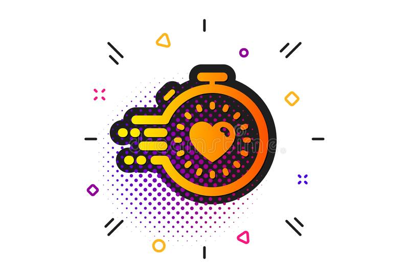 Timer icon. Time management sign. Stopwatch with heart. Vector. Time management sign. Halftone circles pattern. Timer icon. Stopwatch with heart symbol. Classic royalty free illustration