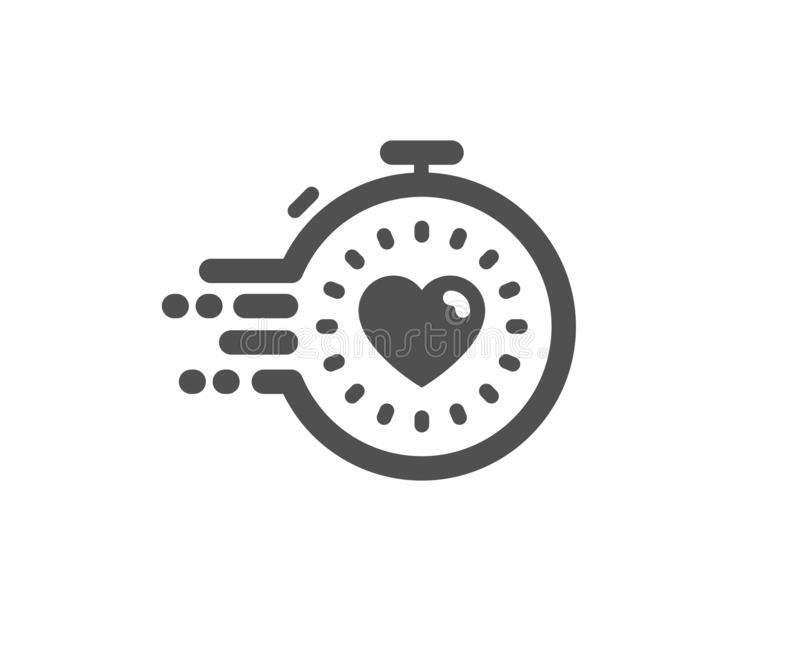 Timer icon. Time management sign. Stopwatch with heart. Vector. Time management sign. Timer icon. Stopwatch with heart symbol. Classic flat style. Simple timer vector illustration