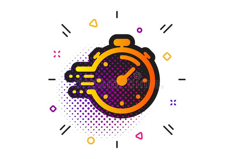 Timer icon. Time management sign. Stopwatch. Vector. Time management sign. Halftone circles pattern. Timer icon. Stopwatch symbol. Classic flat timer icon vector illustration