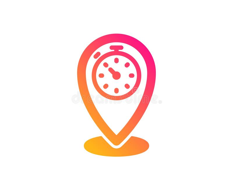 Timer icon. Time sign. Location pointer symbol. Vector. Timer icon. Time sign. Location pointer symbol. Classic flat style. Gradient timer icon. Vector stock illustration