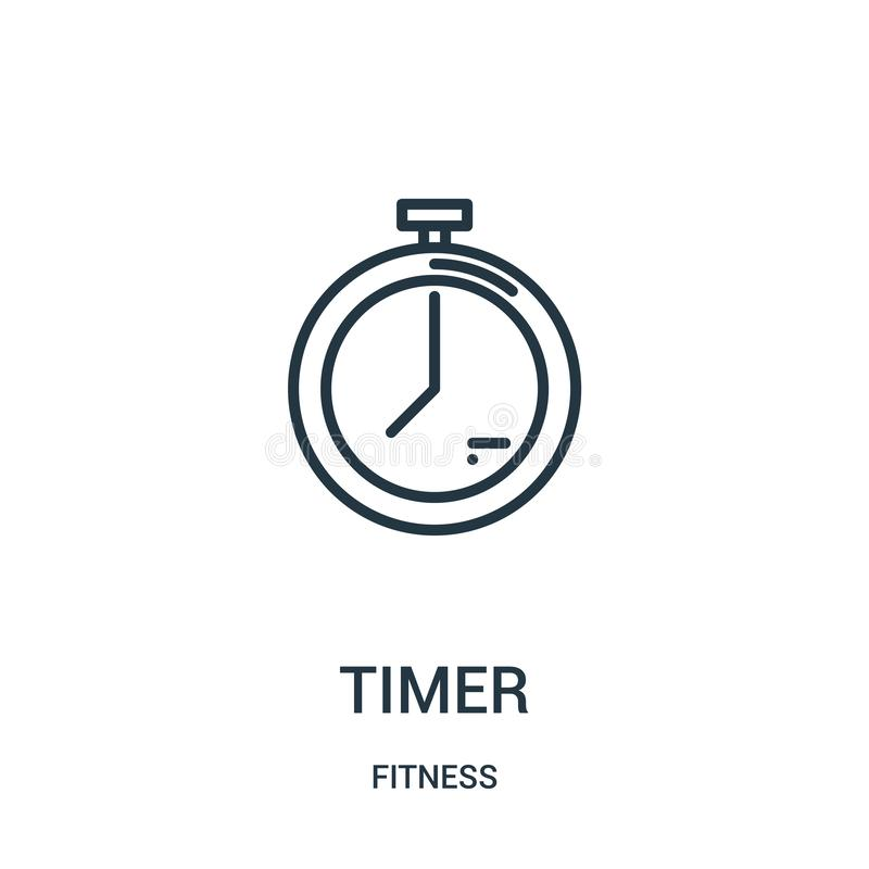 Timer icon vector from fitness collection. Thin line timer outline icon vector illustration. Linear symbol for use on web and. Mobile apps, logo, print media vector illustration
