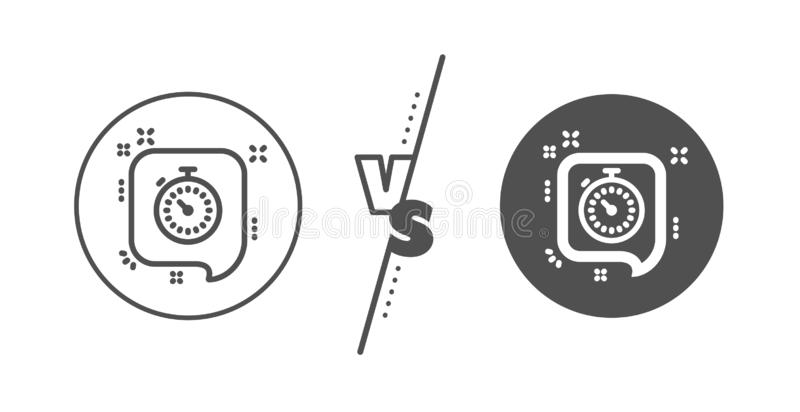 Timer line icon. Time or clock sign. Vector. Time or clock in speech bubble sign. Versus concept. Timer line icon. Line vs classic timer icon. Vector stock illustration