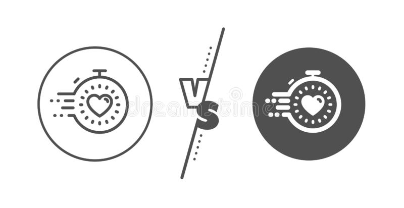 Timer line icon. Time management sign. Stopwatch with heart. Vector. Time management sign. Versus concept. Timer line icon. Stopwatch with heart symbol. Line vs stock illustration