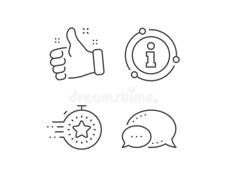 Timer line icon. Time management sign. Stopwatch with star. Vector. Timer line icon. Chat bubble, info sign elements. Time management sign. Stopwatch with star stock illustration