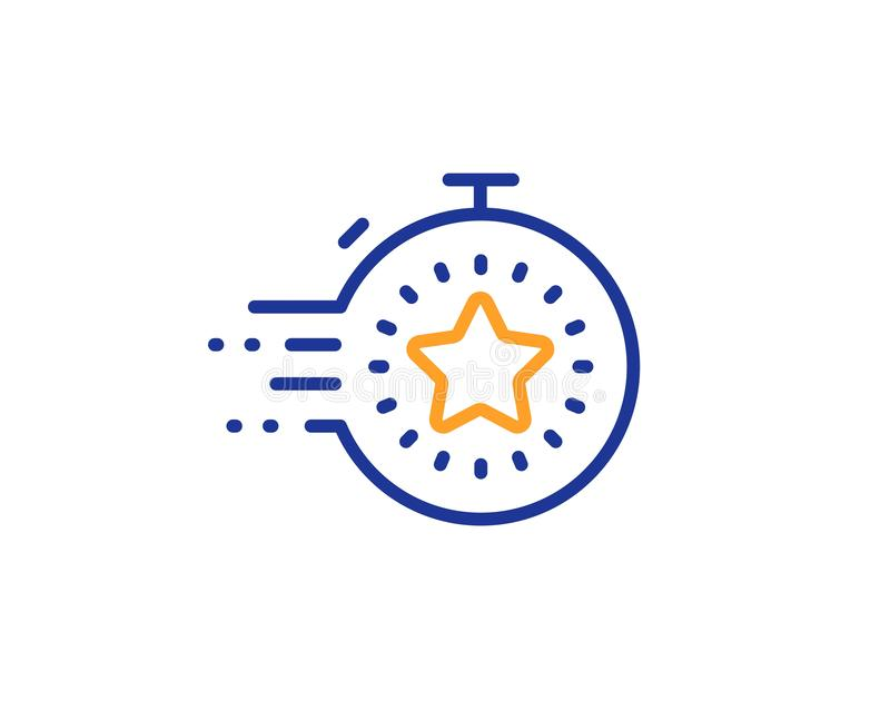 Timer line icon. Time management sign. Stopwatch with star. Vector. Time management sign. Timer line icon. Stopwatch with star symbol. Colorful outline concept vector illustration