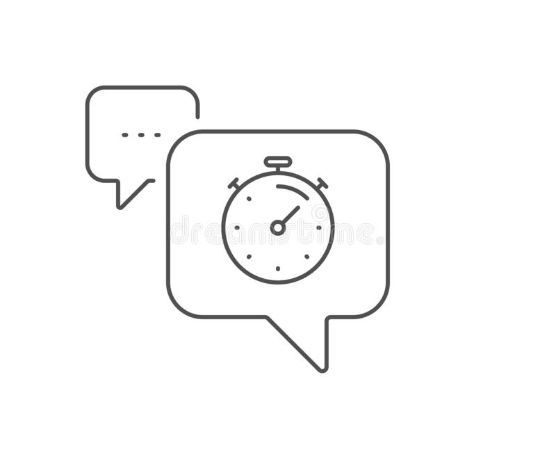 Timer line icon. Time management sign. Stopwatch. Vector. Timer line icon. Chat bubble design. Time management sign. Stopwatch symbol. Outline concept. Thin line royalty free illustration