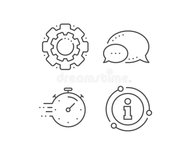 Timer line icon. Time management sign. Stopwatch. Vector. Timer line icon. Chat bubble, info sign elements. Time management sign. Stopwatch symbol. Linear timer vector illustration