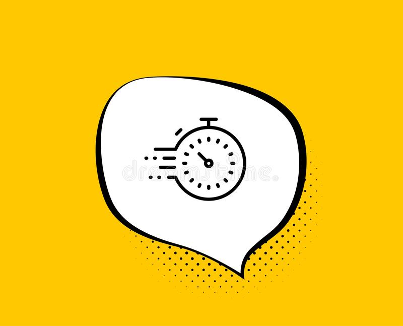 Timer line icon. Time management sign. Stopwatch. Vector. Timer line icon. Comic speech bubble. Time management sign. Stopwatch symbol. Yellow background with royalty free illustration