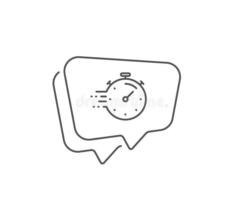 Timer line icon. Time management sign. Stopwatch. Vector. Timer line icon. Chat bubble design. Time management sign. Stopwatch symbol. Outline concept. Thin line vector illustration