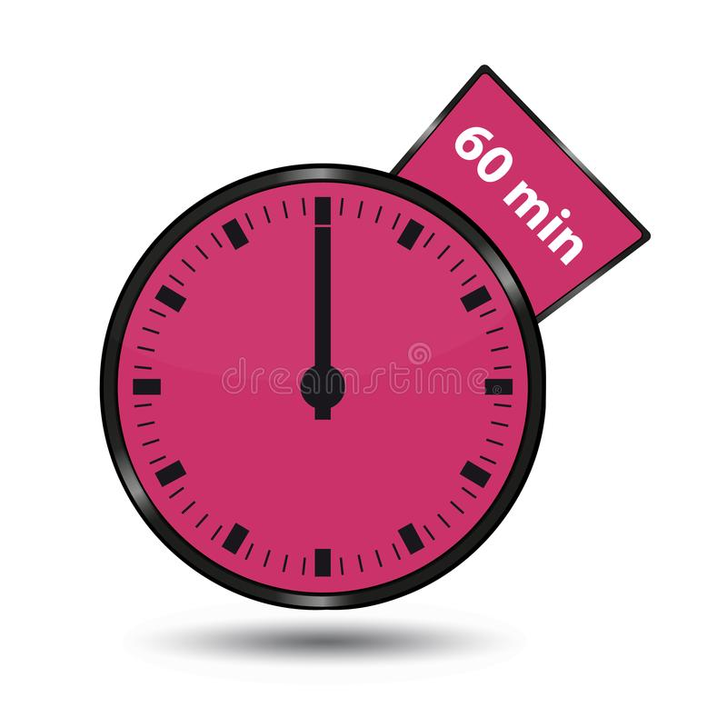 Timer 60 Minuten - Vektor-Illustration - lokalisiert auf Weiß lizenzfreie abbildung