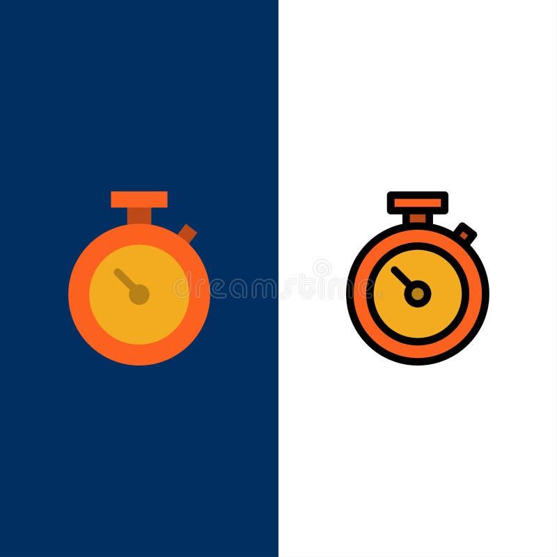 Timer, Stoppuhr, Uhr, Zeit-Ikonen Ebene und Linie gefüllte Ikone stellten Vektor-blauen Hintergrund ein stock abbildung
