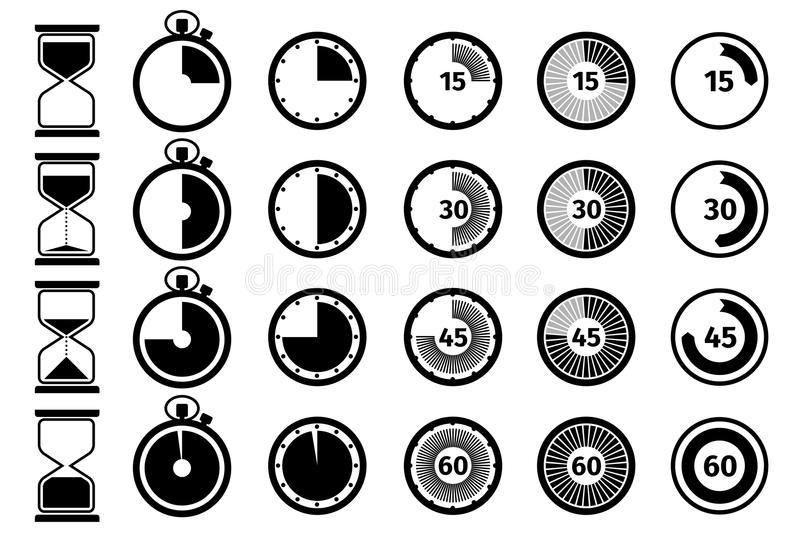 Timer, stopwatch and hourglass vector icon set stock illustration