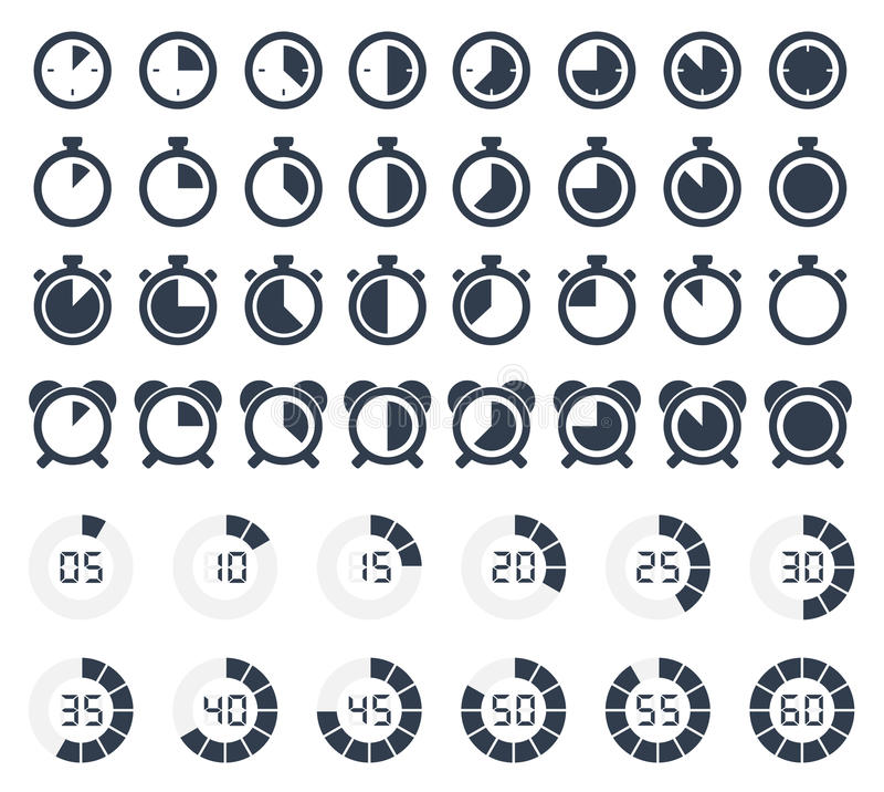 Timer and stopwatch icons set royalty free illustration
