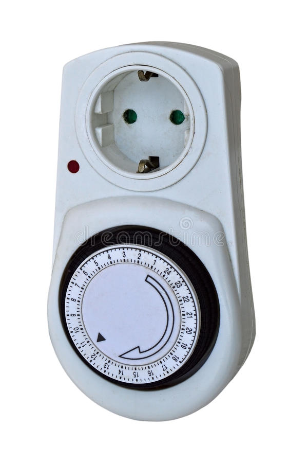 Timer Time Swich. Isolated With PNG File Attached. A dial electrical time switch for switching on and of electrical appliances, heating ect. isolated on a white stock photos