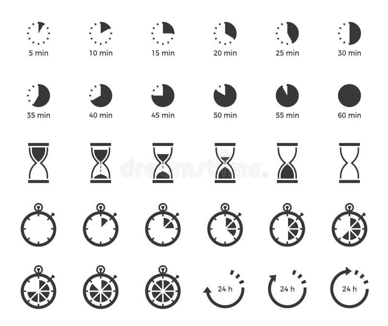 Timer und Sand stoppen Ikone für Gebrauch als Kochanweisung festes O ab vektor abbildung
