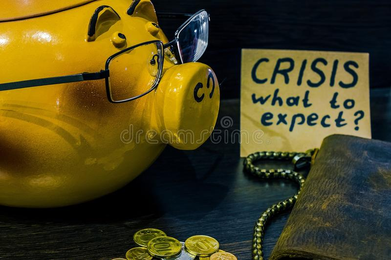 In times of crisis it`s time to think about the piggy Bank stock image