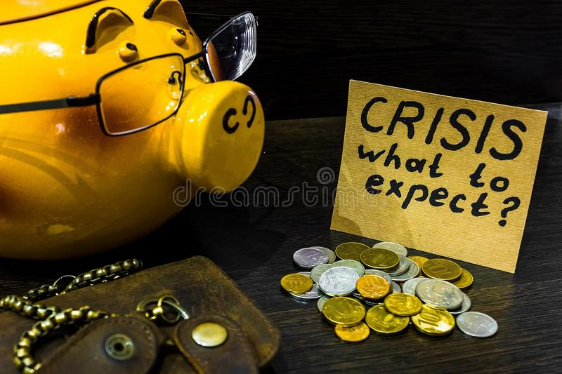 In times of crisis it`s time to think about the piggy Bank royalty free stock image