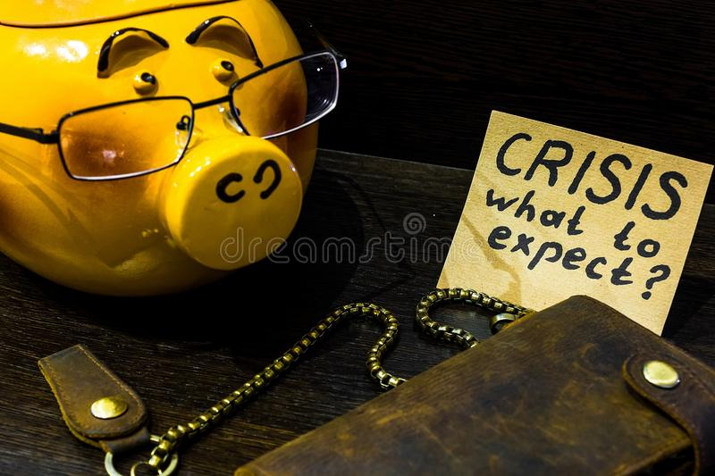 In times of crisis it`s time to think about the piggy Bank royalty free stock photography