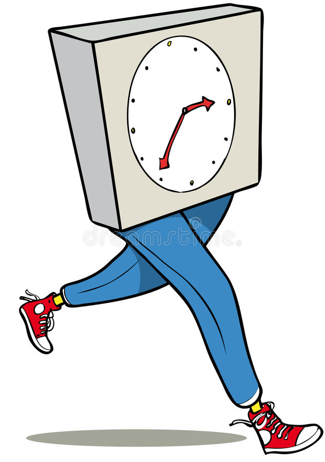 Time running. Clock face person running away quickly royalty free illustration