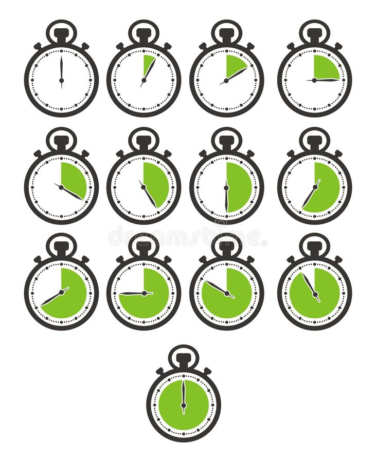 Times icon sets - stop watch, green colour stock illustration