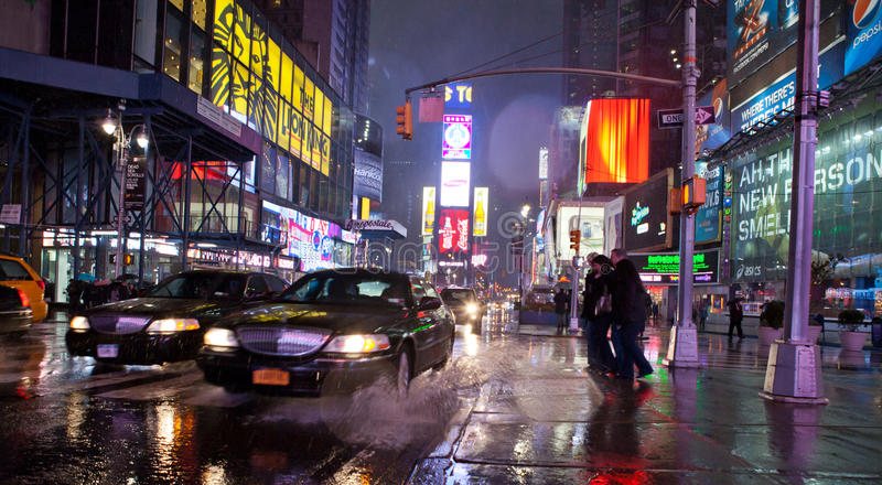 Times Square κατά τη διάρκεια του βροχερού καιρού. στοκ φωτογραφία με δικαίωμα ελεύθερης χρήσης
