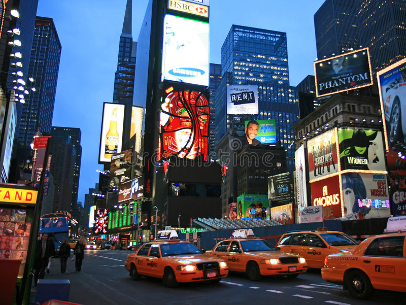 The Times Square. In New York City at night stock photos