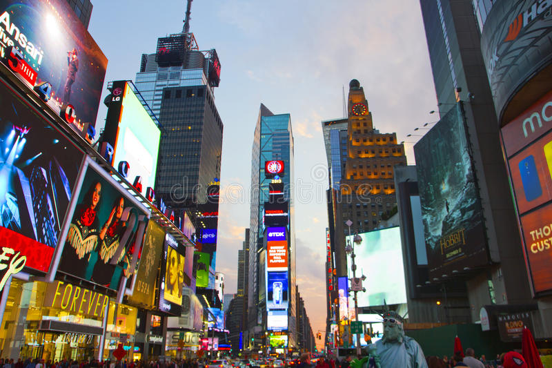 Times Square, with animated LED signs, is a symbol of New York City and United States royalty free stock images