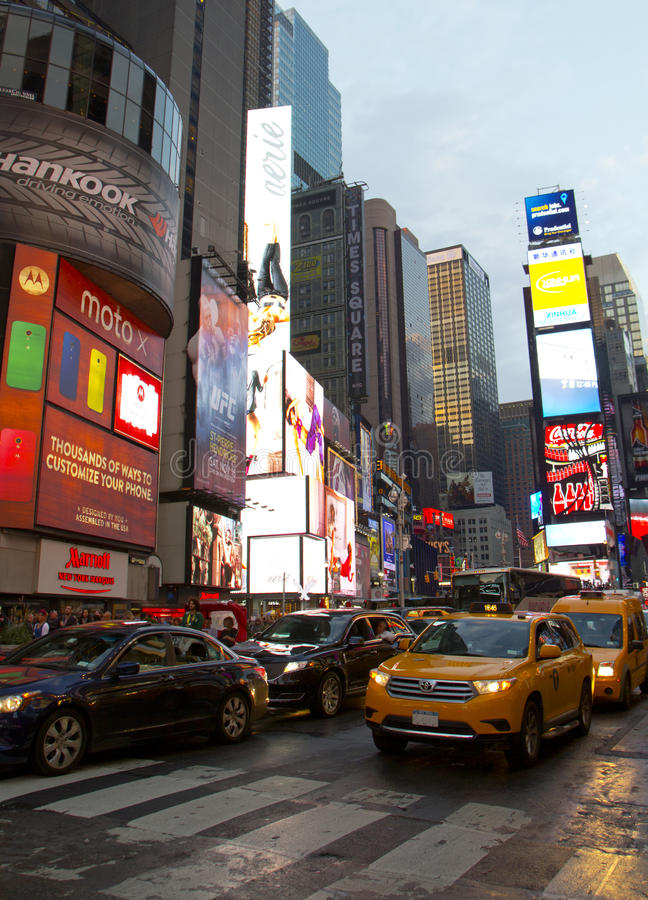 Times Square, with animated LED signs and yellow cabs, is a symbol of New York City and United States royalty free stock photo